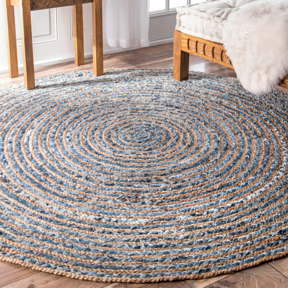 round jute and recycled cotton rugs wholesale