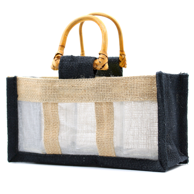 Jute and Cotton Window Gift Bag