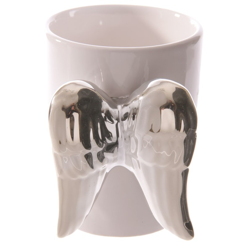 Ceramic White Angel Mug With Silver Wings Handle Ancient